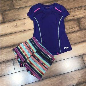 Fila Active Wear Shirt and Shorts set.